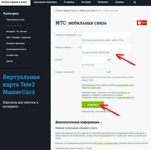 ввести данные для перевода на мтс