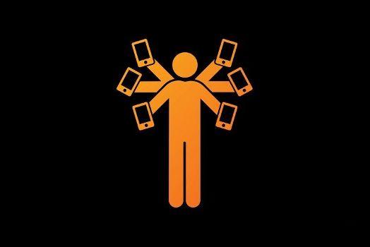 6 рук 6 телефонов